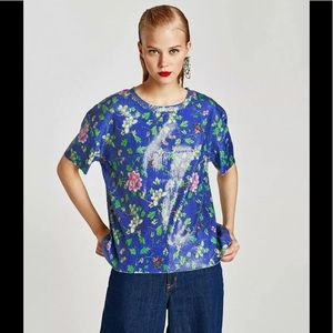 NWOT Zara Trafaluc Floral Sequin Top Size Small